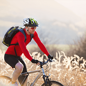 man riding mountain-bike
